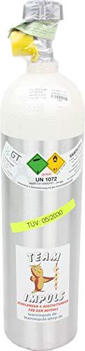 1,8-Liter Sauerstoffflasche - Flasche aus Aluminium mit medizinischem Sauerstoff Druck: 200 bar von Team Impuls