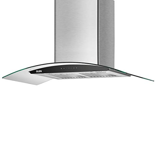 Glen 90 cm 1200 m3/h Heat Auto Clean Chimney (6063 SS, Baffle filters, Touch Sensor Controls, Silver)