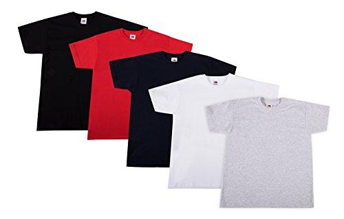 Fruit of the Loom Jungen Pack 5 Kids T-Shirt, Mehrfarbig (Multicoloured 61), 140 (Herstellergröße: 10Y) (5er