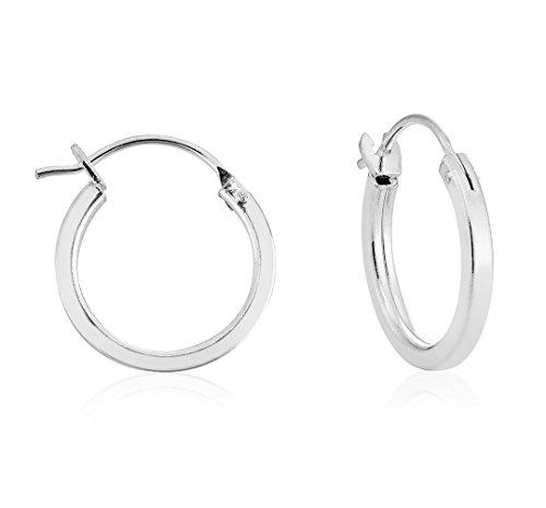 DTPsilver - Creolen Quadratisch Steckverschluss- Ohrringe 925 Sterling Silber - Klein/Mittelgroße/Groß - Dicke 2 mm - Durchmesser: 16 mm