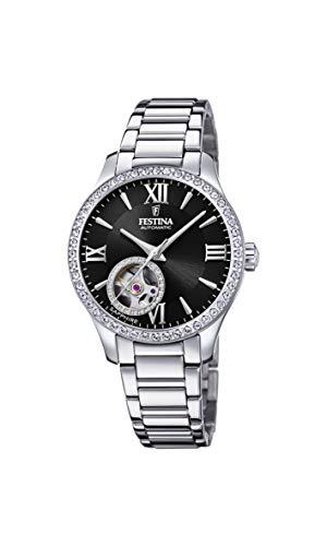 FESTINA Reloj Modelo F20485/2 de la colección AUTOMATICO, Caja de 33,5 mm Negro con Correa de Acero para señora