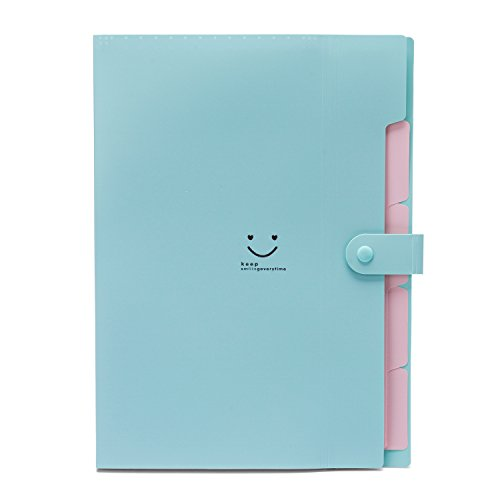 Cute A4 Paper Expanding File Folder for Student School,UBaymax 5 Pockets Durable Smiling Face Letter Accordion Folder Organizer Green