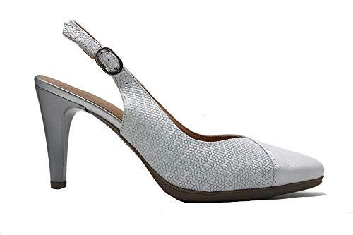 DESIREE - Zapato clásico, de salón Destalonado con Puntera Fina, tacón de Aguja, de Piel y Suela de Goma, para: Mujer Color: Plata Talla:38