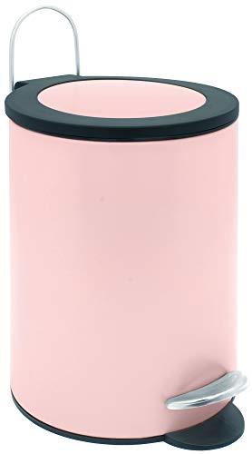 Sanwood 1008822 Treteimer FELINE rosé mit flachem Deckel, Bad-Abfalleimer 3 Liter, Abfalleimer mit Absenkautomatik