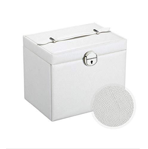 Joyero portátil Organizador de Anillo Pendientes de botón Caja de Almacenamiento de Joyas con Espejo Caja de Piel sintética- Blanco, B