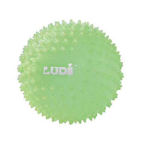 Ludi 30025 - Pelota sensorial fosforescente para el bebé a Partir de 6 Meses pequeños Puntos Duros, Pelota de Juego o de Masaje fácil de agarrar pequeña, diámetro 15 cm