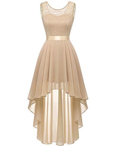 BeryLove Damen Kleid für Abendparty Spitzenkleid Elegant Vokuhila Cocktailkleid Ärmellos Chiffon Hochzeitskleid Champagner BLP7035 Champagne L