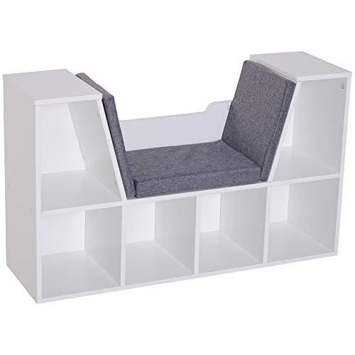 HOMCOM Bücherschrank Bücherregal mit Sitzkissen Standregal Regal mit Sitzbank Holz Leinen Weiß 102 x 30 x 61