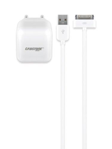 Cabstone 63050 - Adaptador de red con cable de carga y sincronización para iPad, iPod y iPhone (conectores USB y Lightning), color blanco
