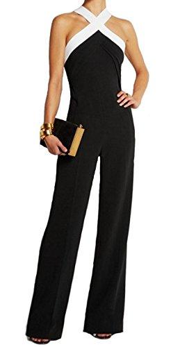 emmarcon Tuta Bicolore con Pantaloni Lunghi a Zampa Vestito Abito da Cerimonia Donna Elegante Casual Party-Black-s