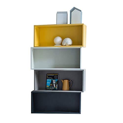 Muur Boekenkast Nordic boekenkast gekleurde boekenkast creatieve planken decoratieve kast opslagstelling kant-en-klaar frame (grootte: 80 × 29,6 × 142,4 cm) rek