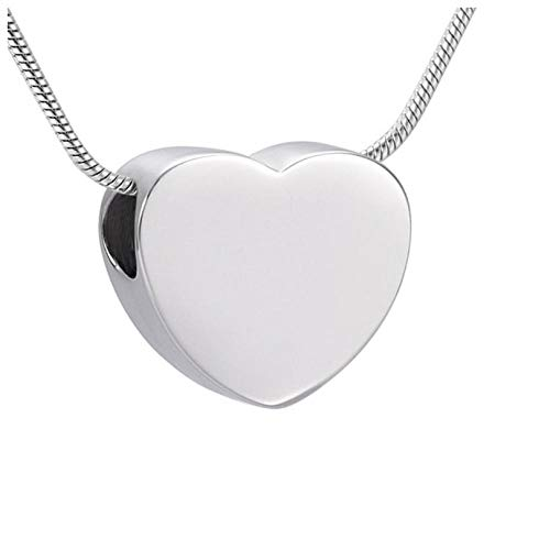 Wxcvz Collar para Cenizas Collar De Urna De Cremación De Corazón Pequeño En Blanco Grabable, Joyería Conmemorativa De Acero Inoxidable Pulido Alto para Ceniza