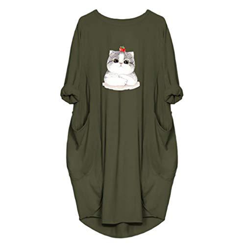 VEMOW Damenmode Tasche Lose Kleid Damen Rundhalsausschnitt beiläufige Tägliche Lange Tops Kleid Plus Größe(Z2-Armeegrün, 48 DE/XL CN)