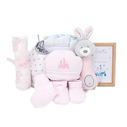 Mi Palacio Mabybox – Set de regalos para bebé con sonajero peluche extra suave y set de gorrito con manoplas y patucos para bebé – Regalo para recién nacido personalizado. (Rosa)