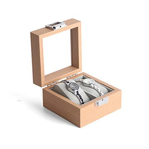 QIFFIY Caja de joyería Caja de Reloj 12 * 12 * 7 cm, Caja de Almacenamiento de Joyas mecánicas de Cuarzo de Las señoras y de los Hombres con Cubierta Superior Transparente (tamaño : 2 bit)