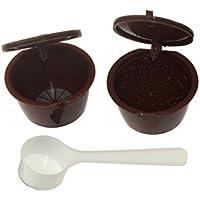 Fligatto Cápsulas recargables con filtro para cafetera Dolce Gusto, incluyen cuchara blanca (color marrón)