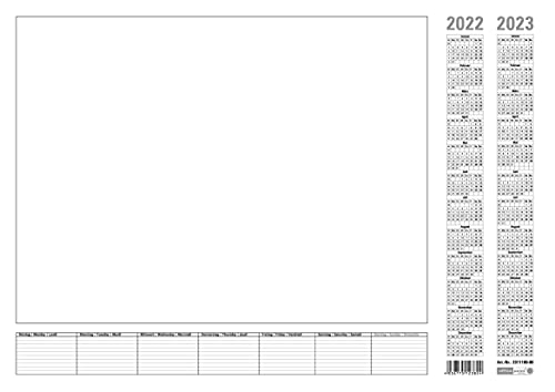 2 Stück Papier-Schreibunterlage weiß Office Point   ca. DIN A2   2-Jahres-Kalender 2022-2023 Wochenplan   Tischkalender mit 7-Tage Wochenplaner   2x25 Blatt (2)