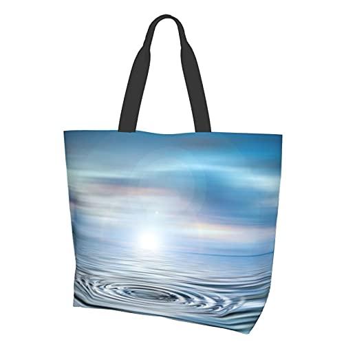 Wave Rings Circle Mirroring Bolsa de lona grande impermeable bolsa de hombro conveniente bolso casual durable gimnasio playa viajes compras diarias 15.7 x 19.7 x 15.0 cm