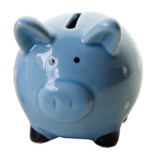 F Fityle Schwein Keramik Sparschwein Spardose Auto Sparbüchse für Hochzeitsgeschenke, Blau