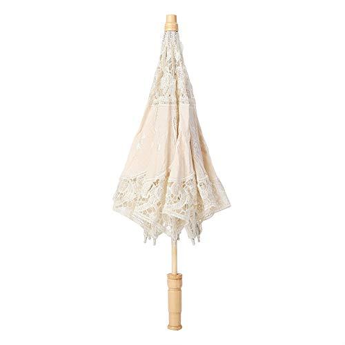 Paraguas de Encaje, Paraguas Nupcial Boda Bordado de Flores Hecho A Mano, Sombrilla Vintage de Encaje para Fotografía, Decoración de Fiesta Navidad(L-Beige)