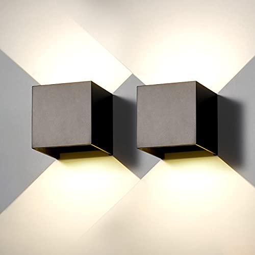 2 Pcs Aplique pared exterior LED lámpara pared interior Moderna negro 6W blanco natural 4000K IP65 impermeable cuadrado...