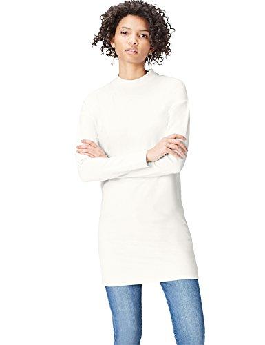 find. Damen Kleid mit hohem Kragen Weiß (Offwhite), 44 (Herstellergröße: XX-Large)
