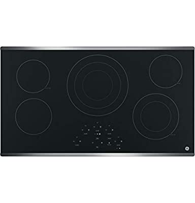 GE JP5036SJSS 36 Inch Smoothtop Electric Cooktop with 5 Radiant Elements, Center Tri-Ring Burner, Digital Touch Controls, Built-in Kitchen Timer, Keep Warm, Melt Setting, ADA Compliant Fits Guarantee