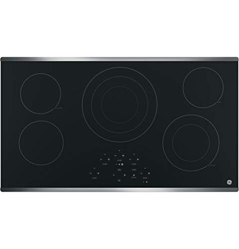 GE JP5036SJSS 36 Inch Smoothtop Electric Cooktop with 5 Radiant Elements, Center Tri-Ring Burner,...