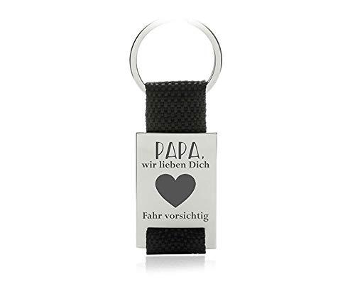 """Silvity Personalisierter Schlüsselanhänger mit Gravur-Motiv (Motiv:\""""Papa fahr vorsichtig\"""" Farbe: Schwarz)"""