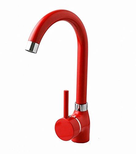 Rubinetto da cucina rosso lavello in ottone per lavabo 1foro rubinetto da cucina nuovo