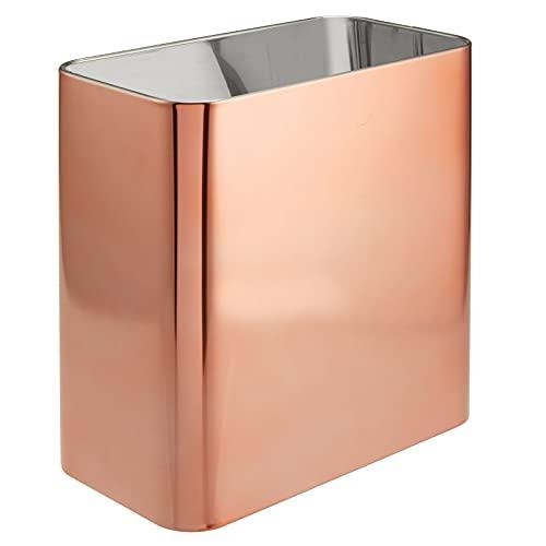 mDesign Papelera de oficina rectangular – Papelera metálica compacta y espaciosa para baño, cocina u oficina – Cubo de...