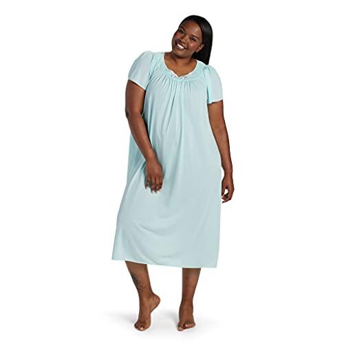 Miss Elaine Women s Tricot Long Flutter Sleeve Nightgown, Sea Foam, X-Large