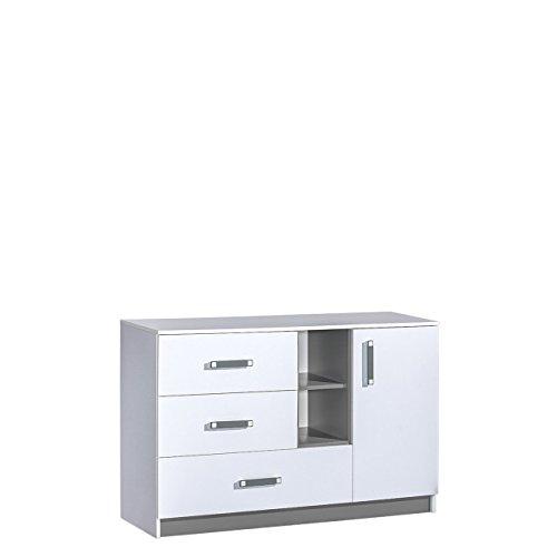 Mirjan24 Kommode 130 Trafiko TR07 mit 3 Schubladen und Tür, Schubladenkommode, Sideboard, Highboard, Mehrzweckschrank für Jugendzimmer, Farbauswahl (Weiß/Weiß + Grau)
