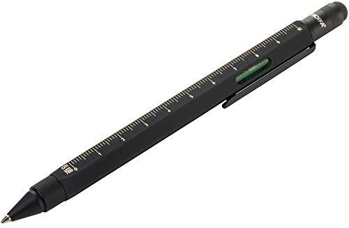 TROIKA Multifunktions-Kugelschreiber,aus Messing, matt silberfarben/tiefschwarz, handlich, PIP20/SB