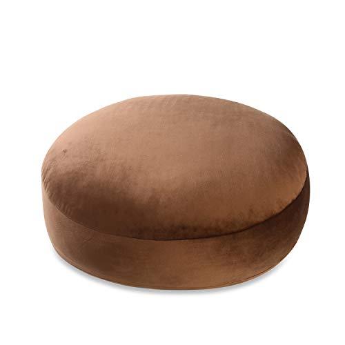 抱き枕 クッション マシュマロ ラウンドクッション もちもちクッション 円型 座布団 かわいい もっちり なめらか ベロア生地 丸型 42Rcm ブラウン…