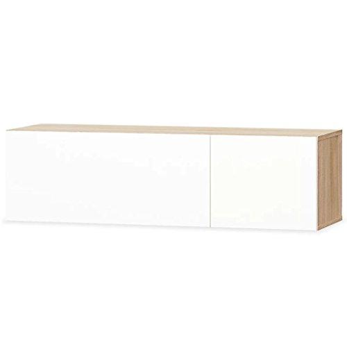 Kshzmoto gabinete de TV Cartón Madera Mueble TV Tablero de TV Mesa de televisión Estante de TV 120 x 40 x 34 cm Blanco Brillante + Roble