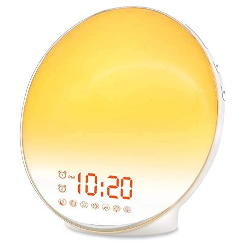 lqgpsx Dormitorio Despertador Despertar Niños Salida del Sol Reloj Despertador Salida del Sol Luz analógica Alarma de Asistente de sueño Dual Perfecto para Regalos