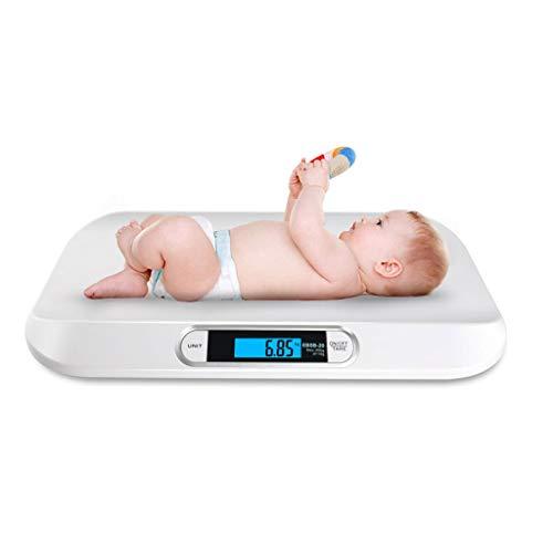 Báscula de bebé plana digital hasta 20 kg Báscula de bebé Báscula de enfermería digital Báscula de animal Báscula de bebé Báscula infantil para báscula de hogar para bebés (Color : White)