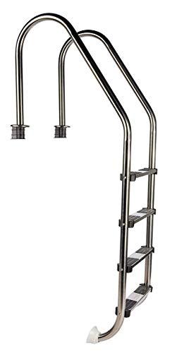 well2wellness® Hochwertige Edelstahl Einstiegsleiter V2A, 43mm Holm weit gebogen, 4 Stufen