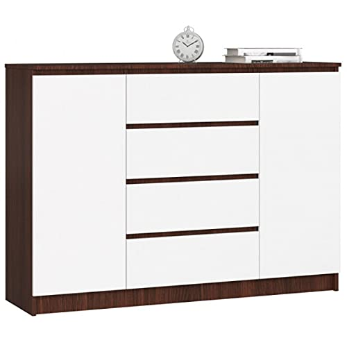 Mueble de entrada, consola de entrada, aparador de entrada, cómoda y cajonera, mueble de TV, mueble de salón, 4 cajones y 2 puertas batientes, varios colores, tamaño: 140 x 99 x 40 (wengue/blanco)