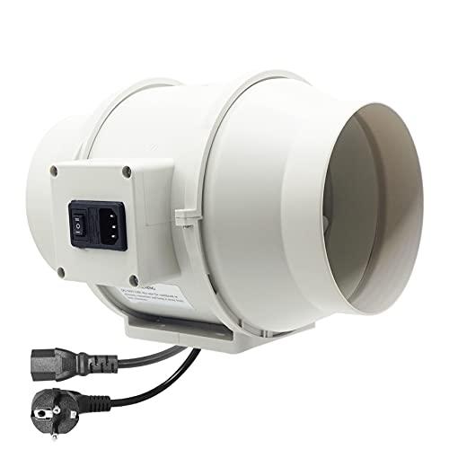 Moonjor Extractor de Aire 150mm Máx.530m³/h con Enchufe IEC de 2-Velocidades, Enchufe de la EU, Ventilador de Conducto para baño, Tienda de Cultivo, Hidroponía - Blanco