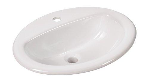 'aquaSu® Einbauwaschtisch aVondo, 51,6 cm, Weiß, Waschtisch, Einbauwaschbecken, Waschbecken, Waschplatz, Bad, Badezimmer, Gäste-Bad, Keramik