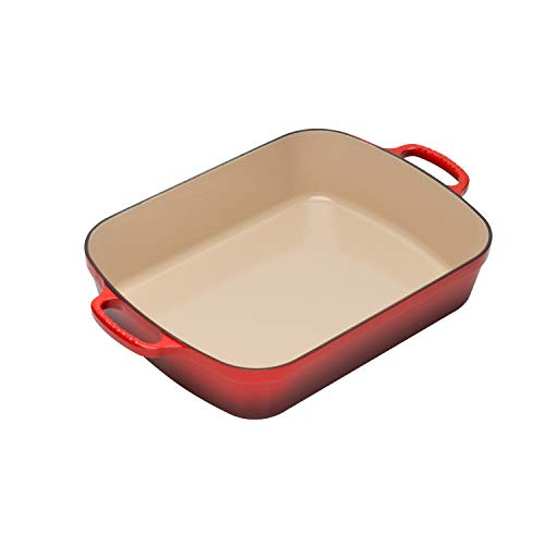 Le Creuset Signature Cast Iron Rectangular Roaster, 5.25-Quart, Cerise (Cherry Red)
