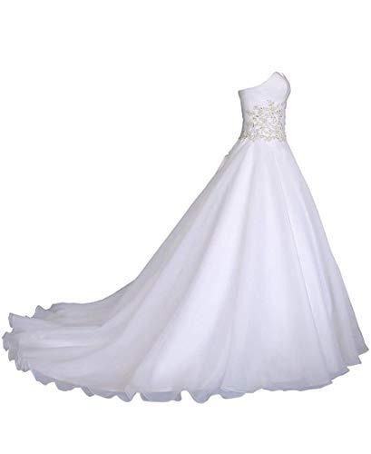 EVANKOU Damen Romantische Mode Brautkleid Hochzeitskleid Weißen Abschnitt A-förmigen langenTrägerlosen Stickerei Perlen Strass Weiß Große Größen 56