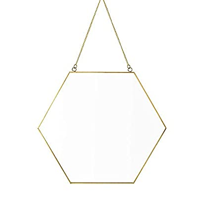 "Dahey Hanging Wall Mirror Decor Gold Hexagon Mirrors for Home Bathroom Bedroom Living Room,15.75""x 13.38"""