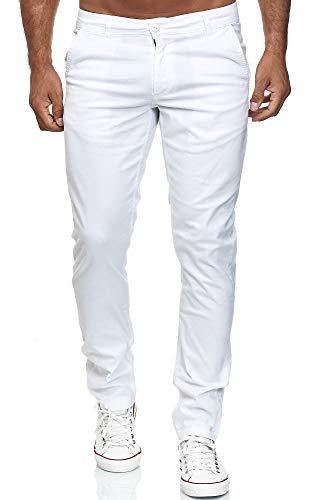 Elara Herren Chino Hose Regular Slim Fit Stretch Chunkyrayan MEL009-Weiß-36/34