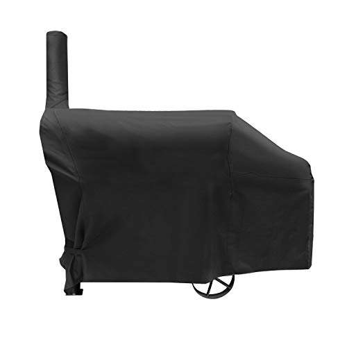 SunPatio Offset Smoker Grill Cover, Heavy Duty Waterproof Barrel Charcoal Smoker Barbecue Cover, Durable FadeStop Material, Fits Brinkmann Trailmaster, Char-Broil, Dyna-Glo and More, Black