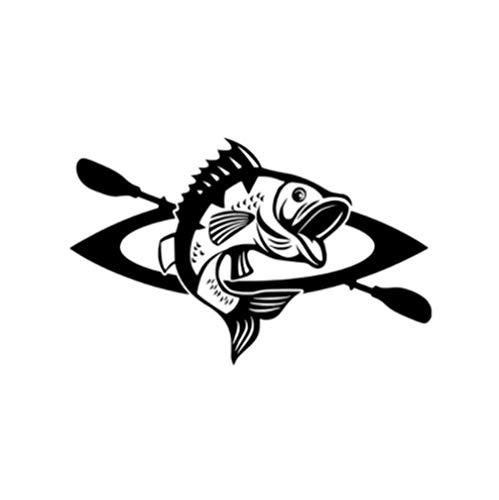 Gbrand Etiqueta engomada del Coche de 3 Piezas 17 * 10,7 CM Etiqueta engomada Interesante del Coche del Vinilo de la Canoa y del Pescado Negro