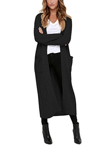 Dokotoo Womens Ladies Cozy Winter Autumn Casual Open Front Long Sleeve Long Cardigans Cable Knit Sweater Coat with Pockets Outwear Black Medium