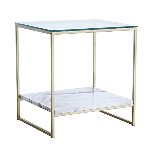 Tilly Lin Glass Top Faux Marble End Side Table/Night Stand with Gold Metal Legs
